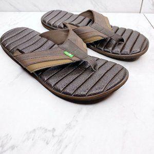 Sanuk Brown Sandals Flip Flops Shoes Size 9 Mens